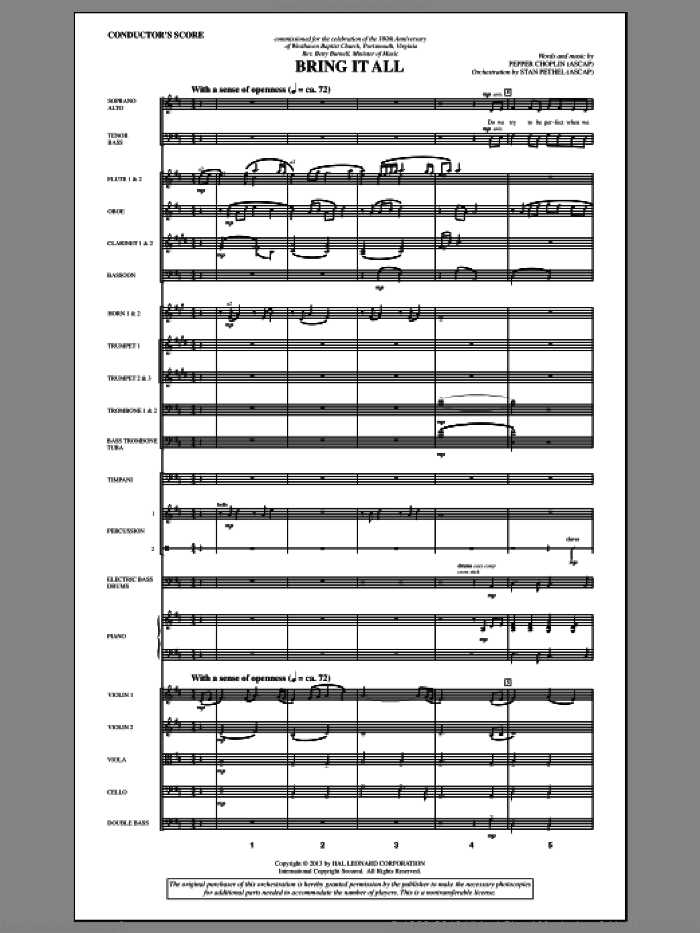 Bring It All (COMPLETE) sheet music for orchestra/band by Pepper Choplin, intermediate. Score Image Preview.