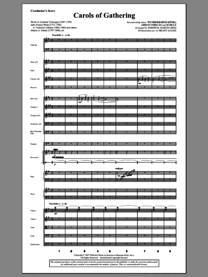 Carols Of Gathering (from Season Of Wonders) (COMPLETE) sheet music for orchestra/band by Joseph Martin and Joseph M. Martin, intermediate orchestra/band. Score Image Preview.