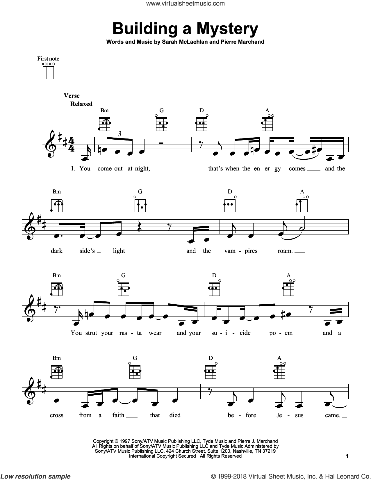 Building A Mystery sheet music for ukulele by Pierre Marchand and Sarah McLachlan. Score Image Preview.