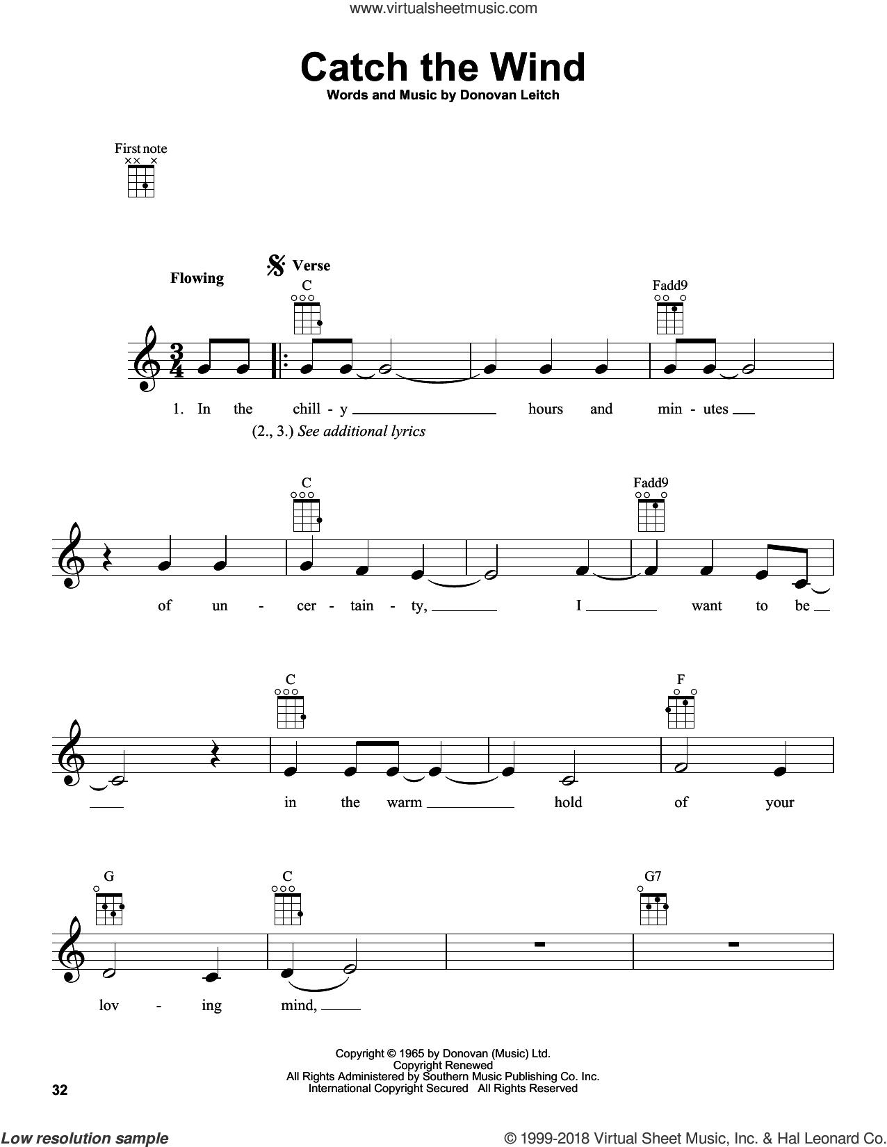 Catch The Wind sheet music for ukulele by Donovan Leitch and Walter Donovan. Score Image Preview.