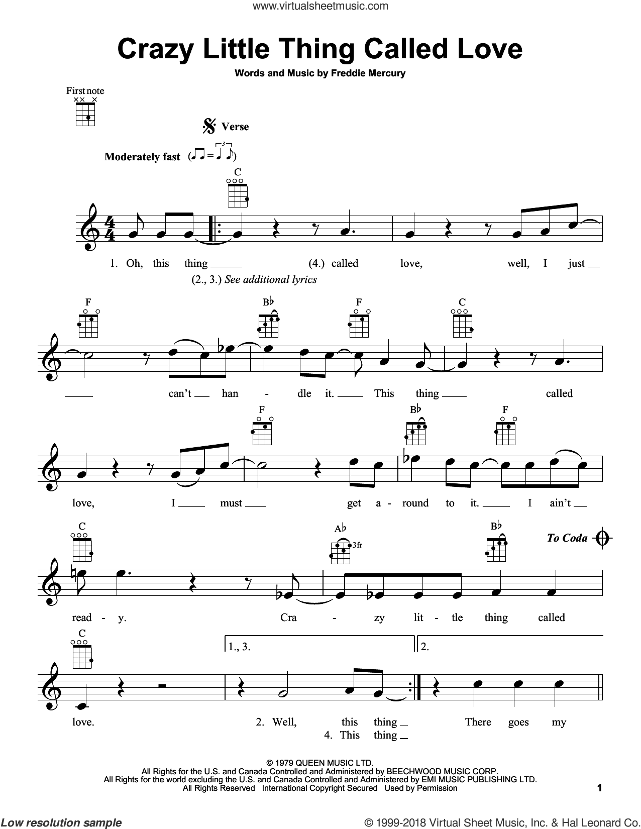 Crazy Little Thing Called Love sheet music for ukulele by Queen, Dwight Yoakam and Freddie Mercury, intermediate skill level