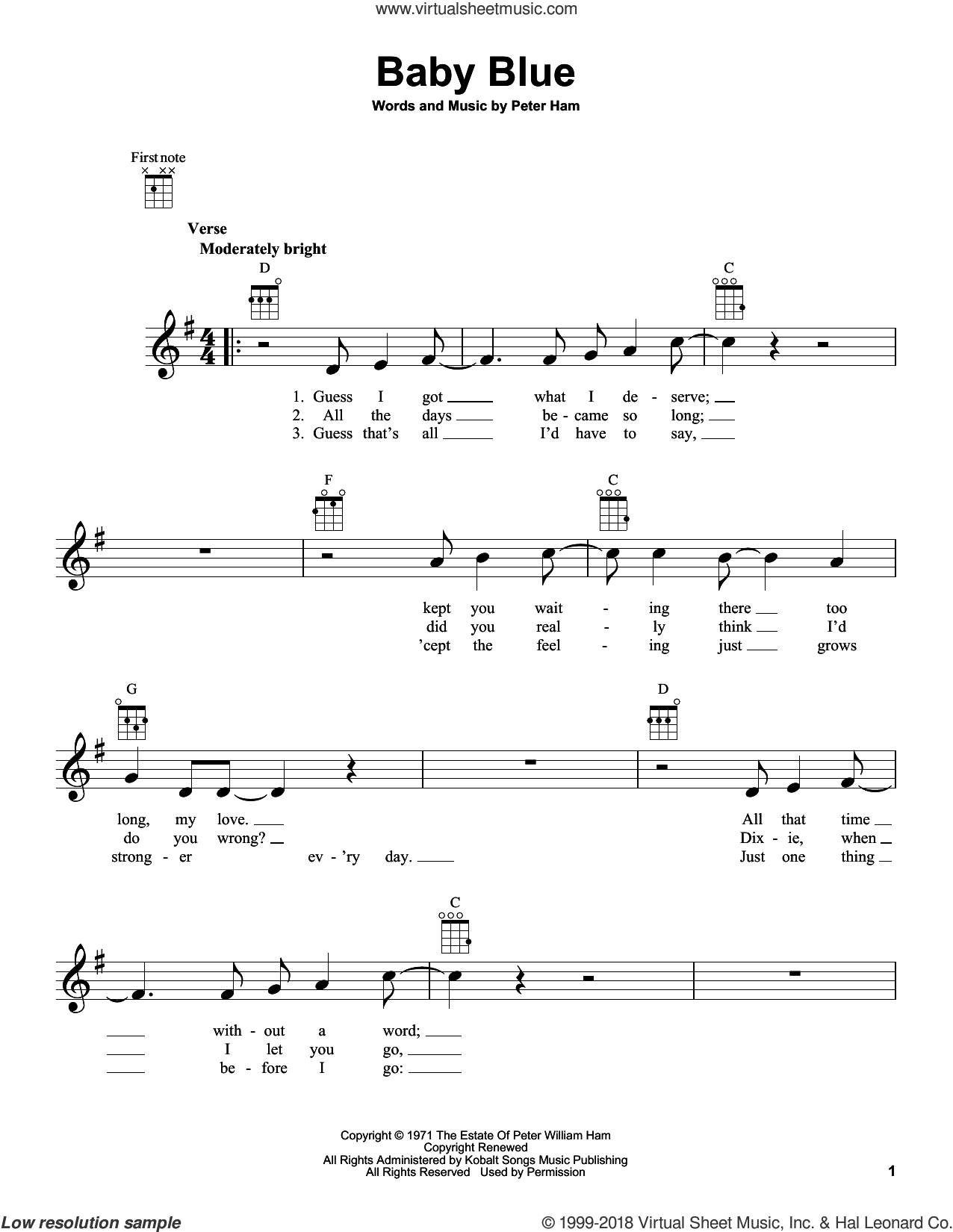 Baby Blue sheet music for ukulele by Badfinger and Pete Ham, intermediate skill level