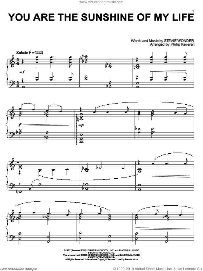 You Are The Sunshine Of My Life sheet music for piano solo by Stevie Wonder and Phillip Keveren, wedding score, intermediate skill level