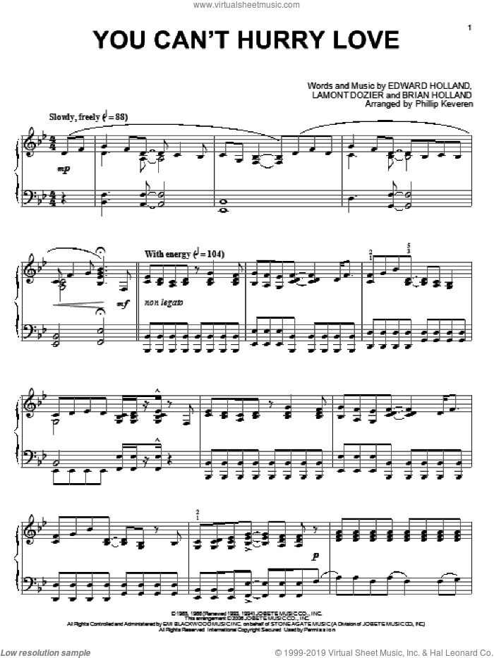 You Can't Hurry Love sheet music for piano solo by Lamont Dozier, Phillip Keveren, Phil Collins, Brian Holland and Eddie Holland. Score Image Preview.