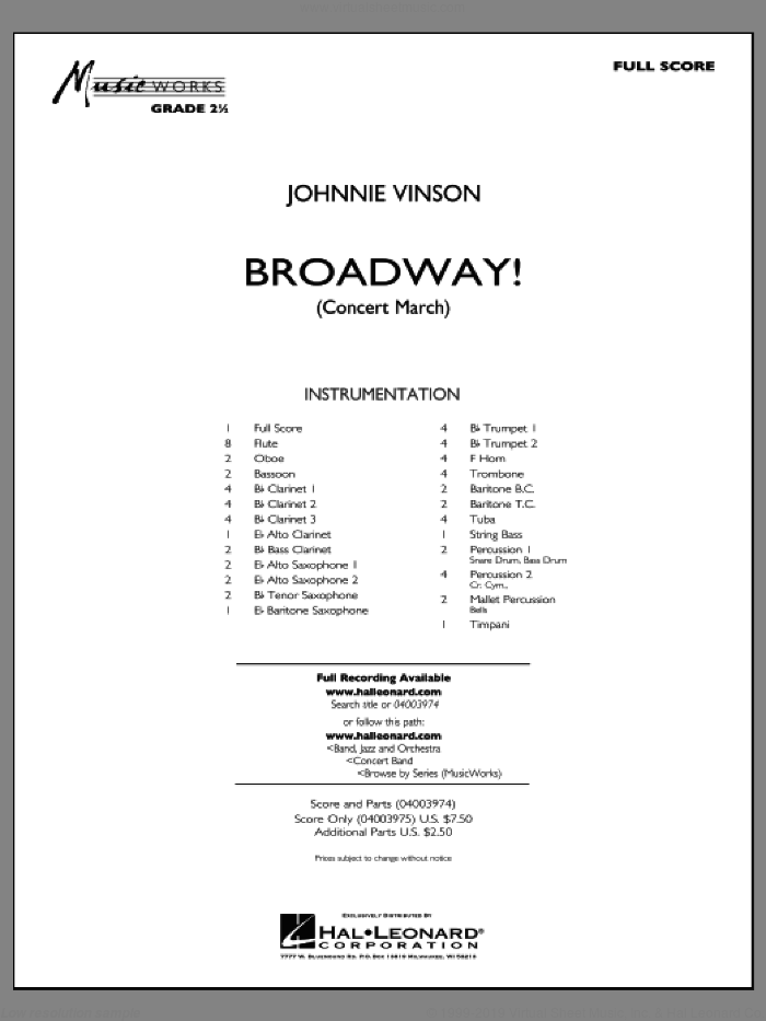 Broadway! (COMPLETE) sheet music for concert band by Johnnie Vinson, intermediate skill level