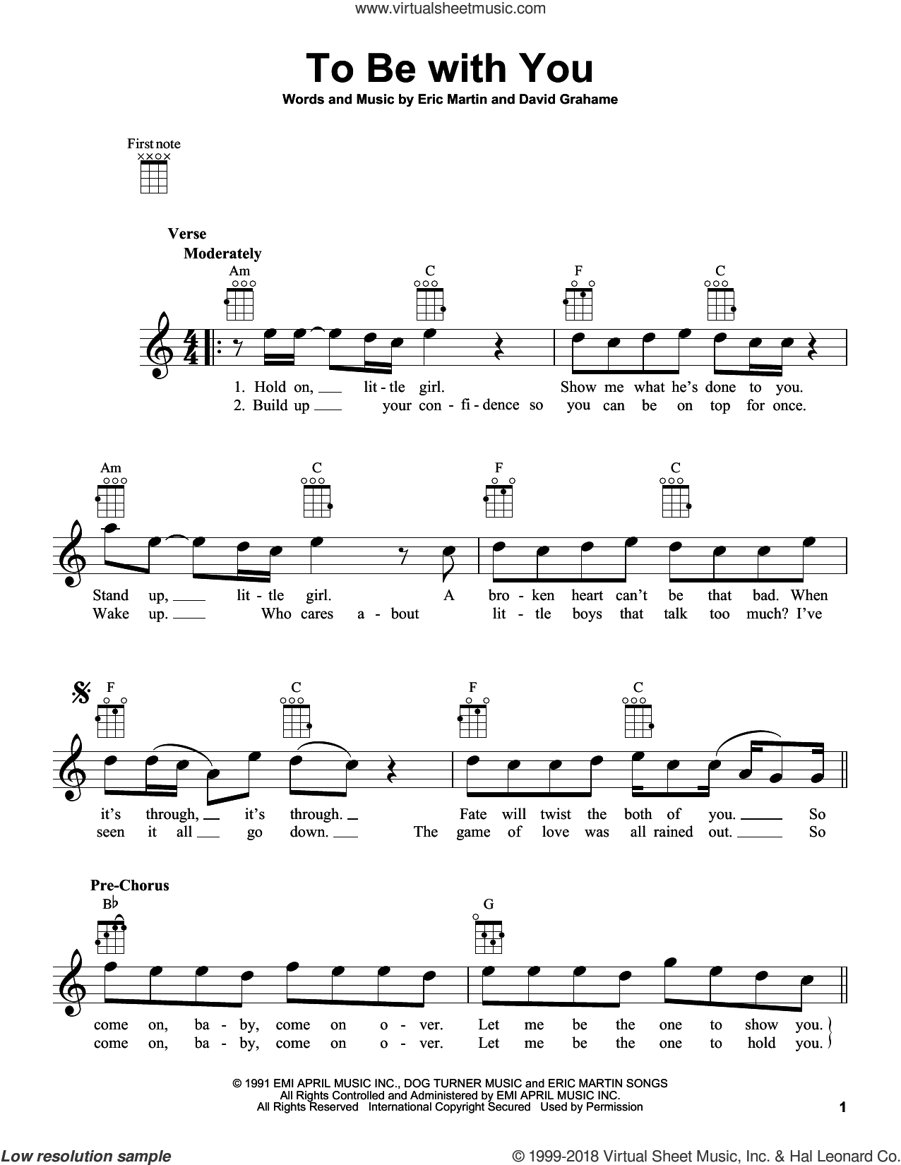 To Be With You sheet music for ukulele by Mr. Big, intermediate. Score Image Preview.