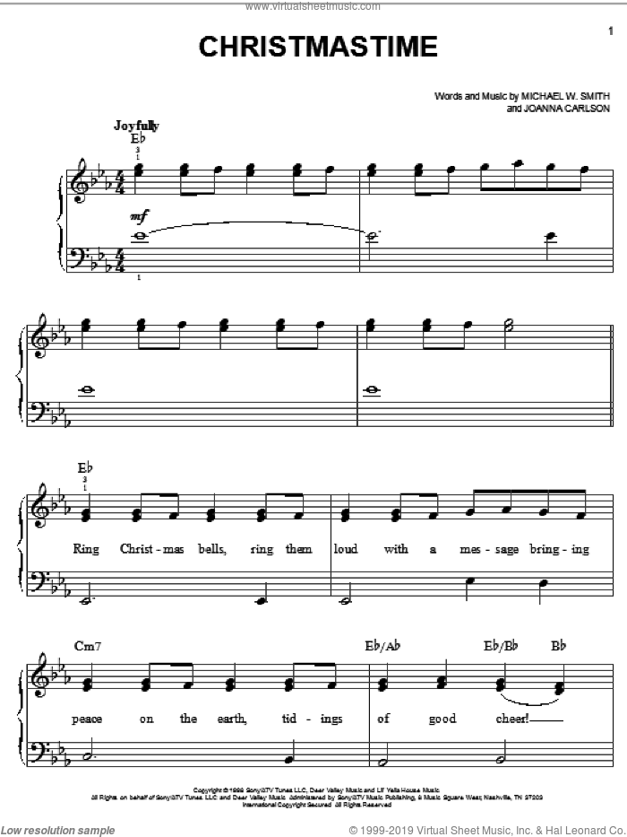 Christmastime sheet music for piano solo by Michael W. Smith and Joanna Carlson, easy skill level