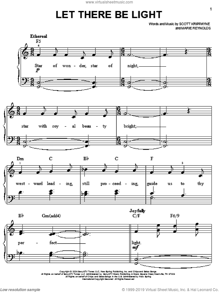 Let There Be Light sheet music for piano solo by Point Of Grace, Marie Reynolds and Scott Krippayne, easy skill level