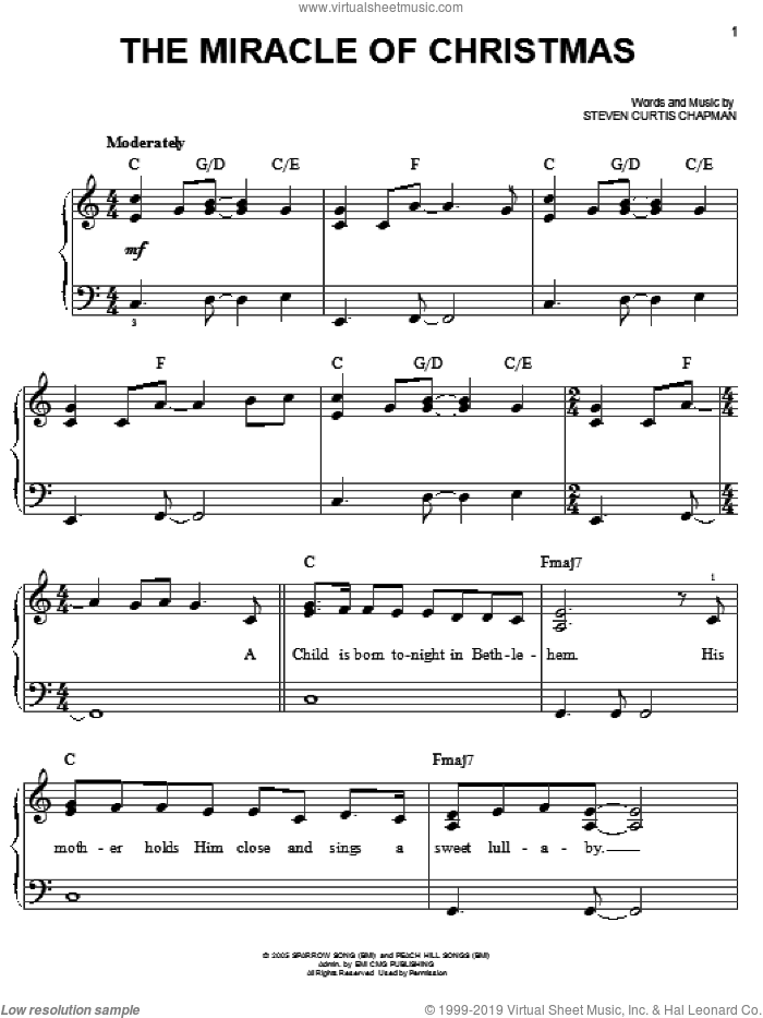 The Miracle Of Christmas sheet music for piano solo by Steven Curtis Chapman, easy skill level