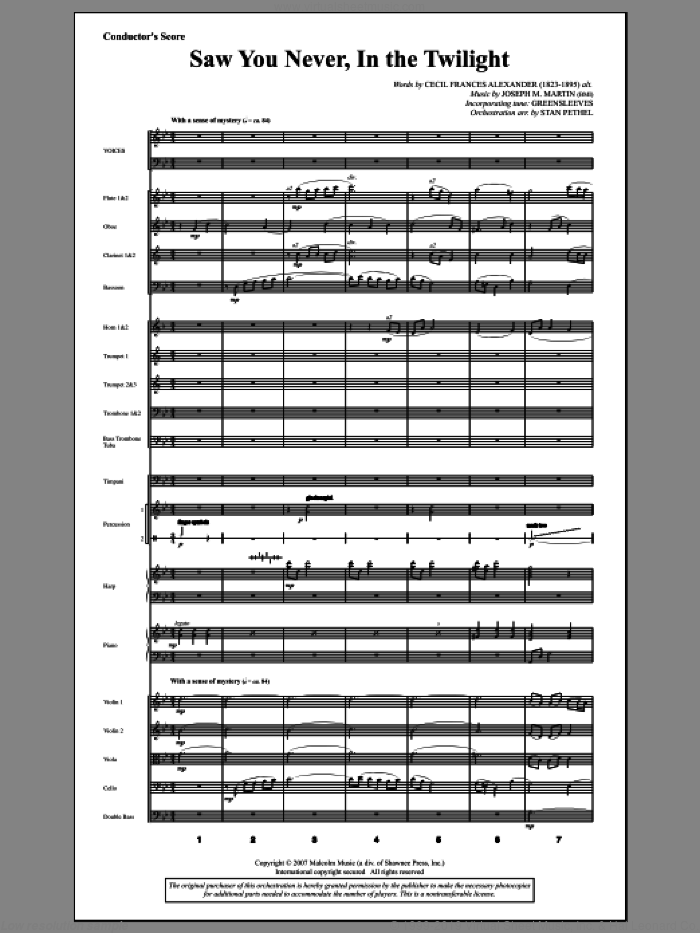 Saw You Never, In The Twilight (from Season Of Wonders) (COMPLETE) sheet music for orchestra/band by Joseph M. Martin and Cecil Alexander, intermediate. Score Image Preview.