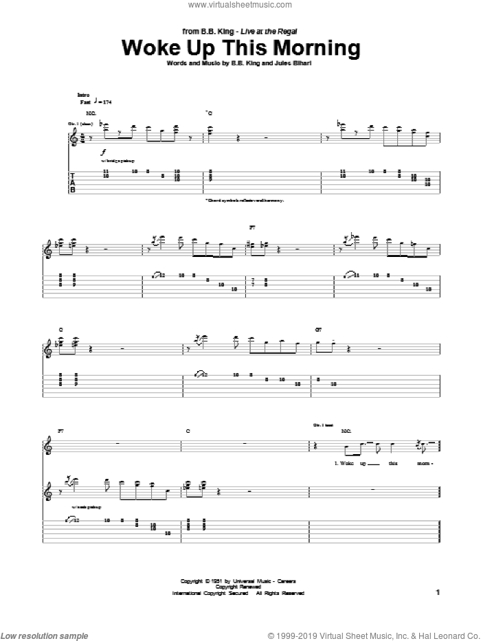Woke Up This Morning sheet music for guitar (tablature) by B.B. King, intermediate. Score Image Preview.