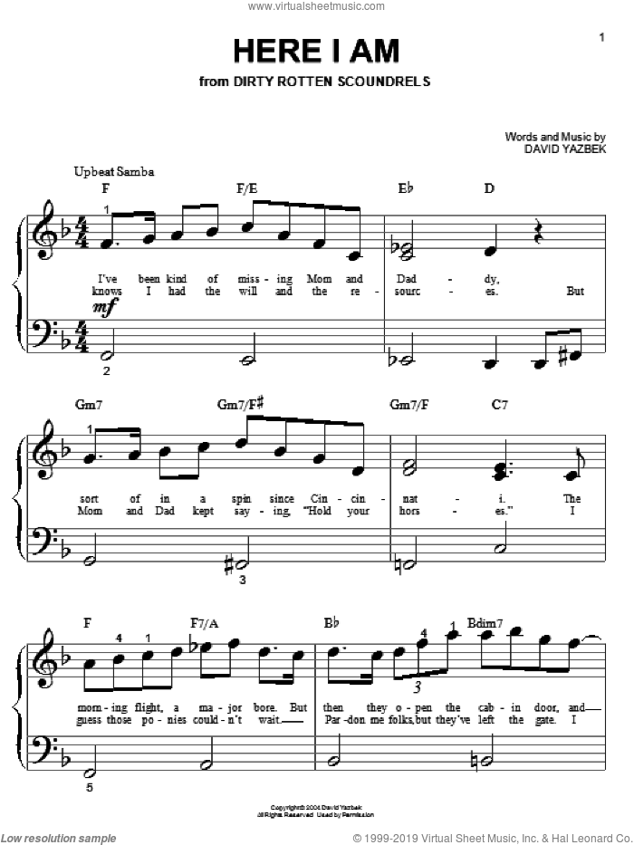 Here I Am sheet music for piano solo (big note book) by David Yazbek. Score Image Preview.