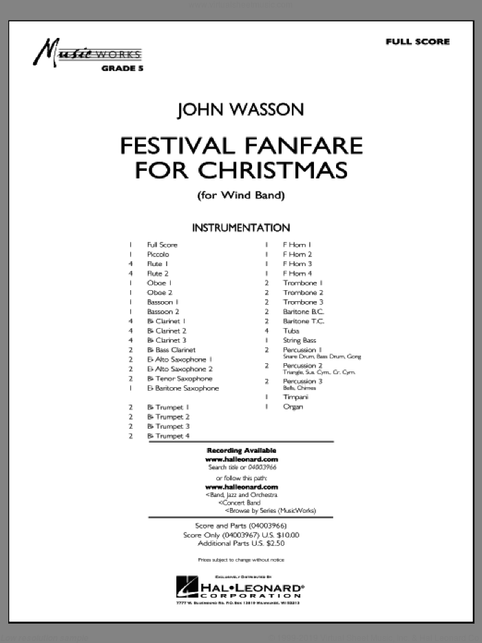 Festival Fanfare for Christmas (for Wind Band) (COMPLETE) sheet music for concert band by John Wasson, intermediate. Score Image Preview.