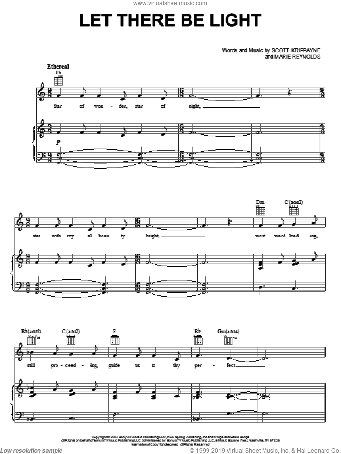 Let There Be Light sheet music for voice, piano or guitar by Point Of Grace, Marie Reynolds and Scott Krippayne, intermediate