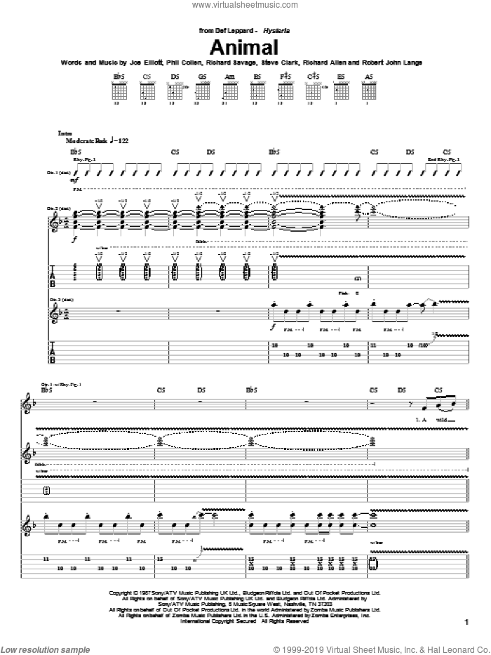Animal sheet music for guitar (tablature) by Steve Clark, Def Leppard, Joe Elliott and Robert John Lange