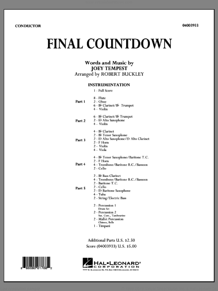 Final Countdown (COMPLETE) sheet music for concert band by Robert Buckley, Europe and Joey Tempest, intermediate. Score Image Preview.