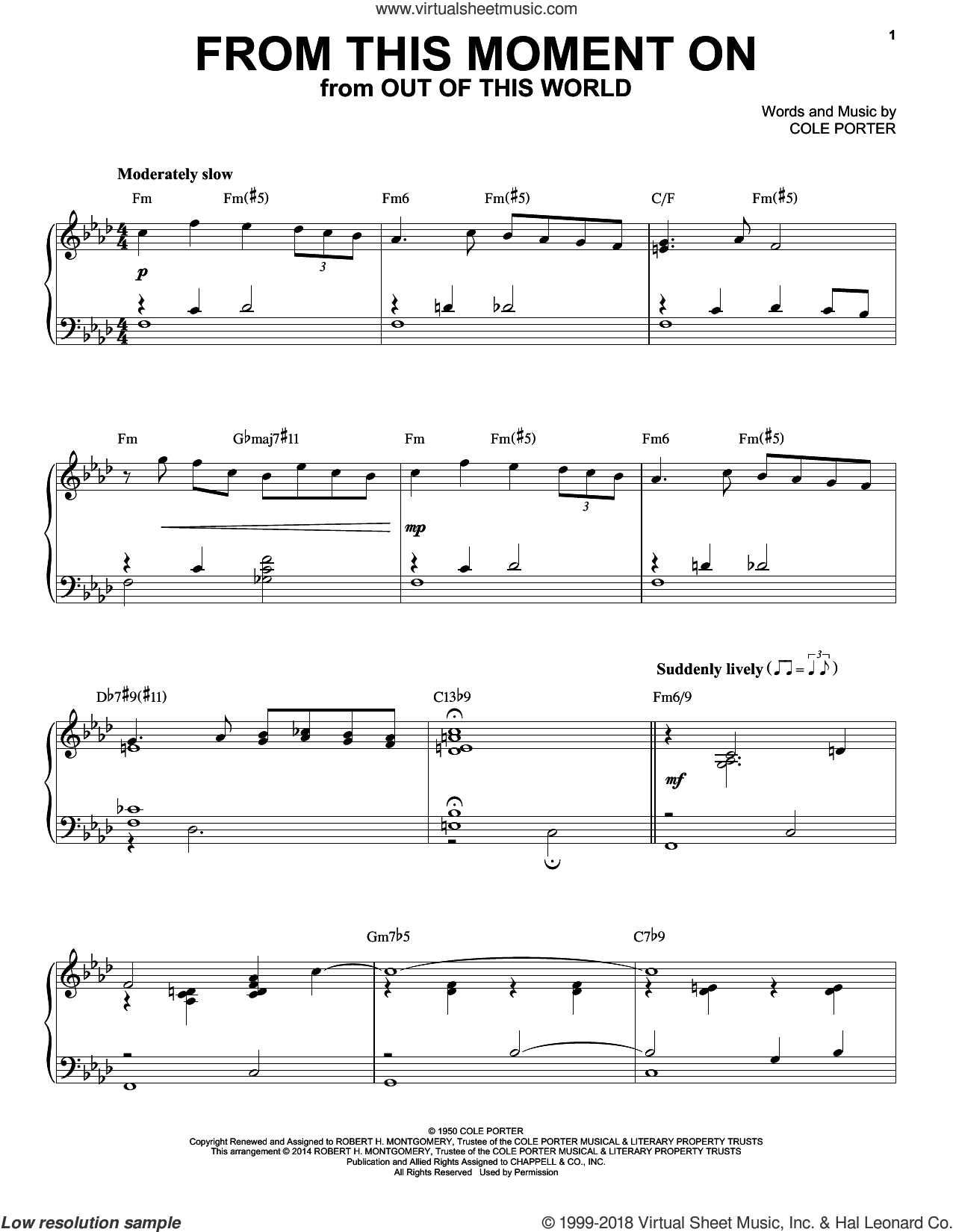 From This Moment On [Jazz version] (from Kiss Me, Kate) (arr. Brent Edstrom) sheet music for piano solo by Cole Porter, intermediate skill level