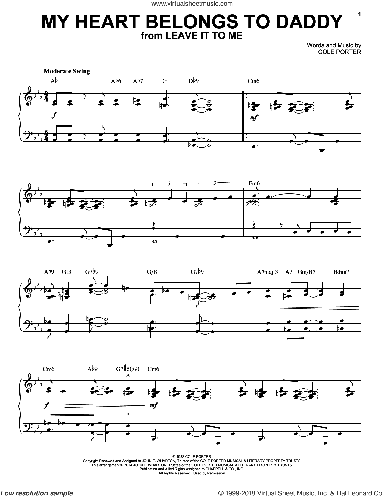 My Heart Belongs To Daddy sheet music for piano solo by Cole Porter. Score Image Preview.