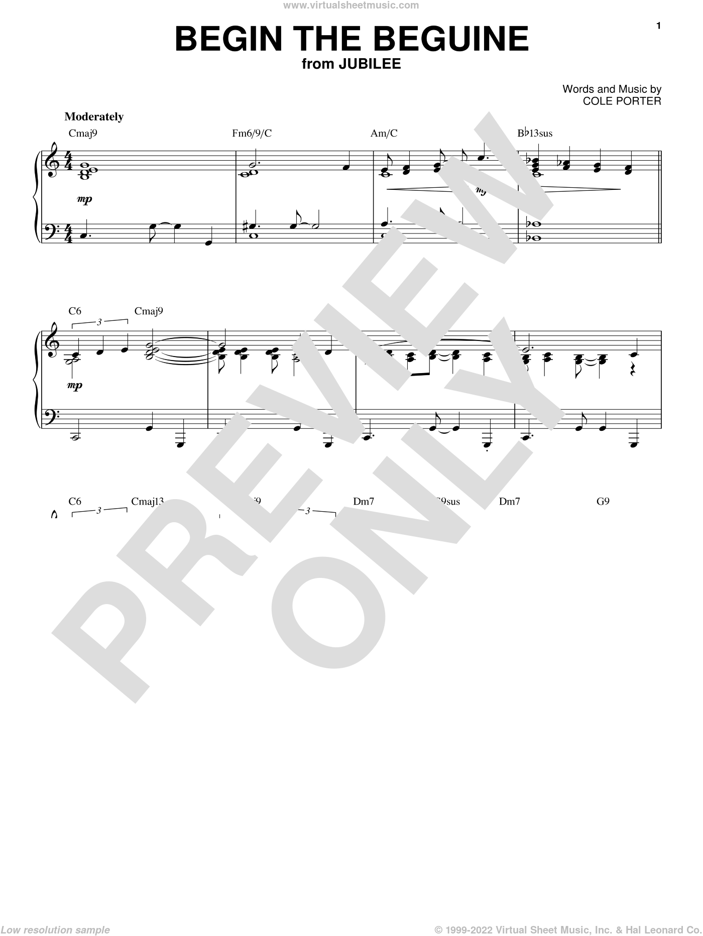 Begin The Beguine sheet music for piano solo by Cole Porter, intermediate skill level