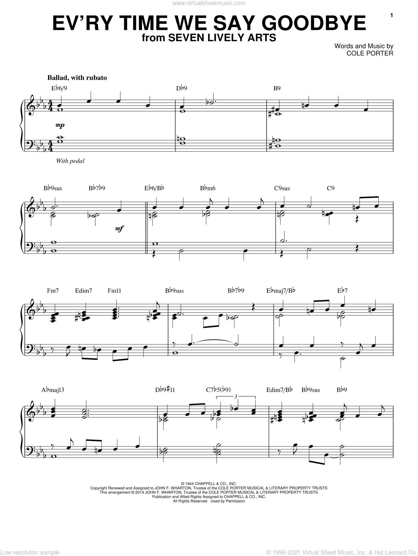 Ev'ry Time We Say Goodbye sheet music for piano solo by Cole Porter and Stan Kenton, intermediate. Score Image Preview.
