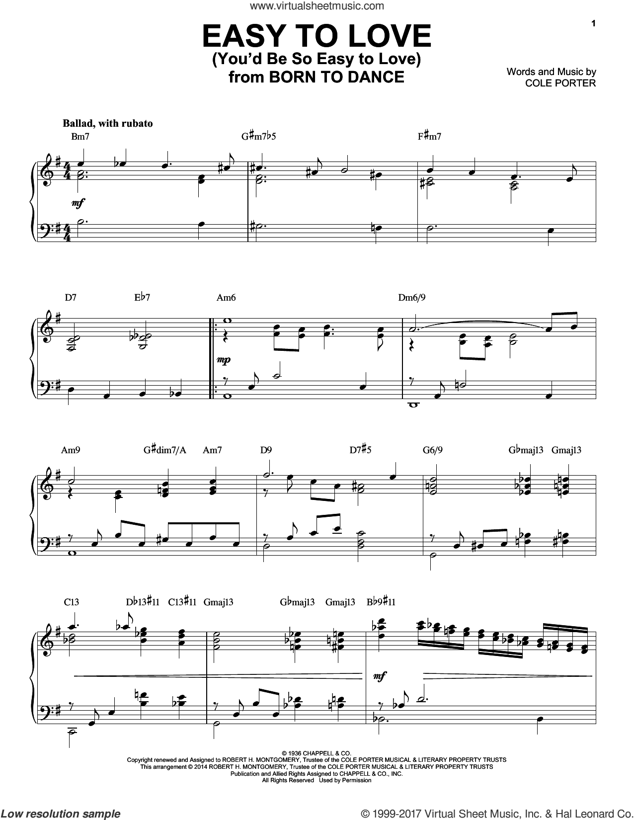 Easy To Love (You'd Be So Easy To Love) sheet music for piano solo by Cole Porter, intermediate skill level