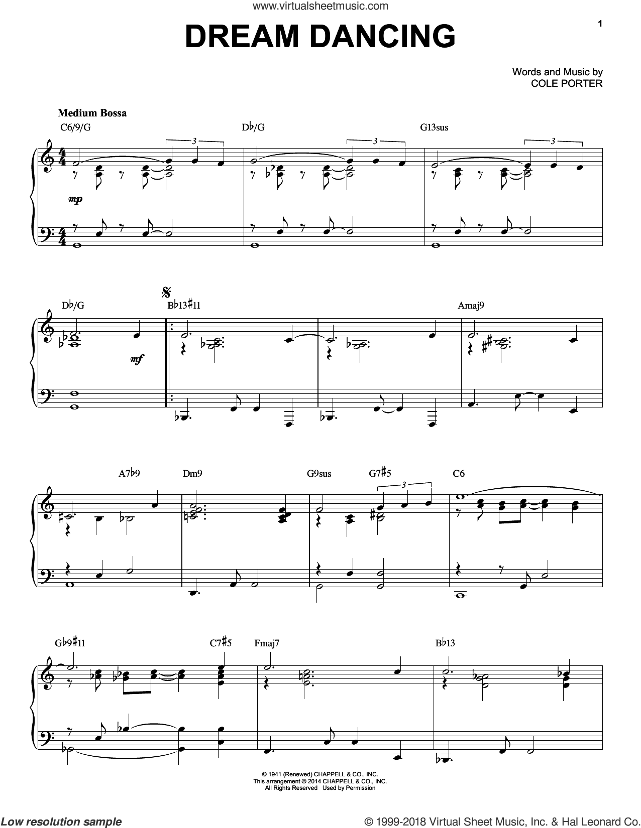 Dream Dancing sheet music for piano solo by Cole Porter and Fred Astaire, intermediate skill level