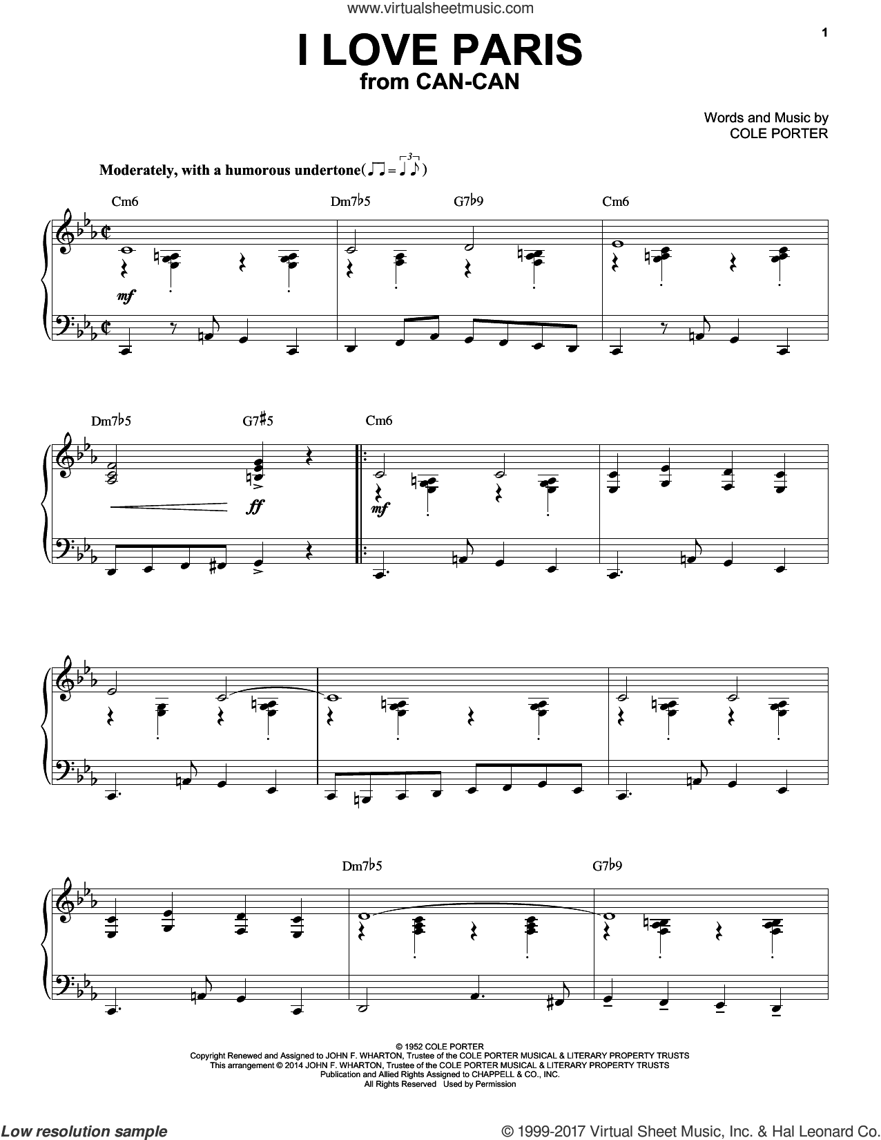 I Love Paris [Jazz version] (arr. Brent Edstrom) sheet music for piano solo by Cole Porter, intermediate skill level