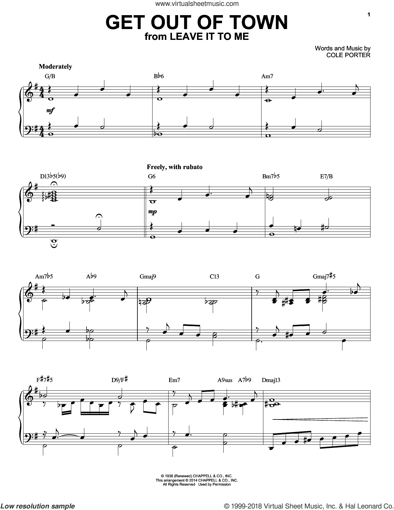 Get Out Of Town [Jazz version] (arr. Brent Edstrom) sheet music for piano solo by Cole Porter, intermediate skill level