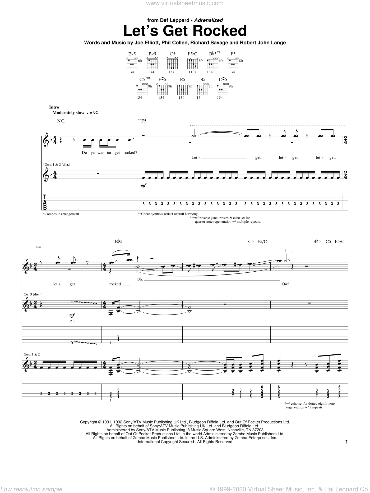 Let's Get Rocked sheet music for guitar (tablature) by Def Leppard, Joe Elliott, Phil Collen, Richard Savage and Robert John Lange, intermediate