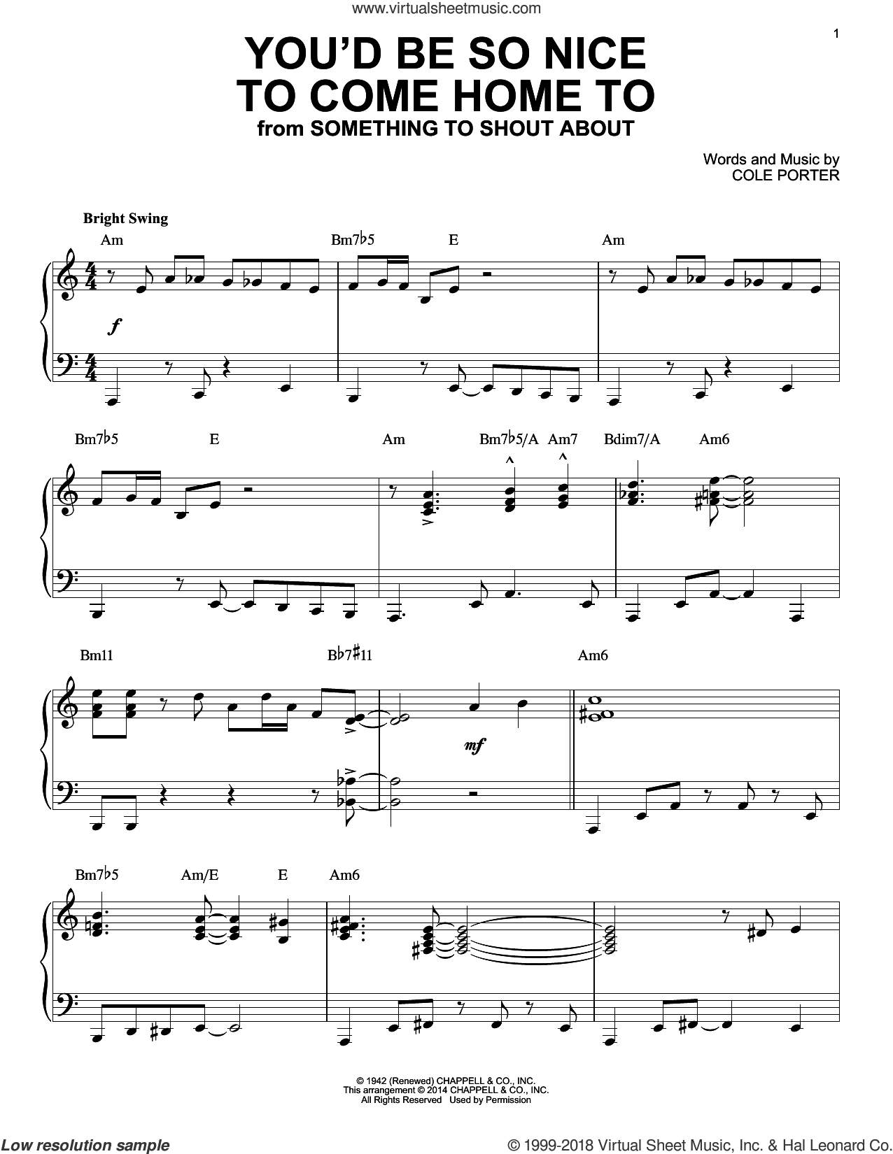 You'd Be So Nice To Come Home To sheet music for piano solo by Cole Porter, intermediate skill level