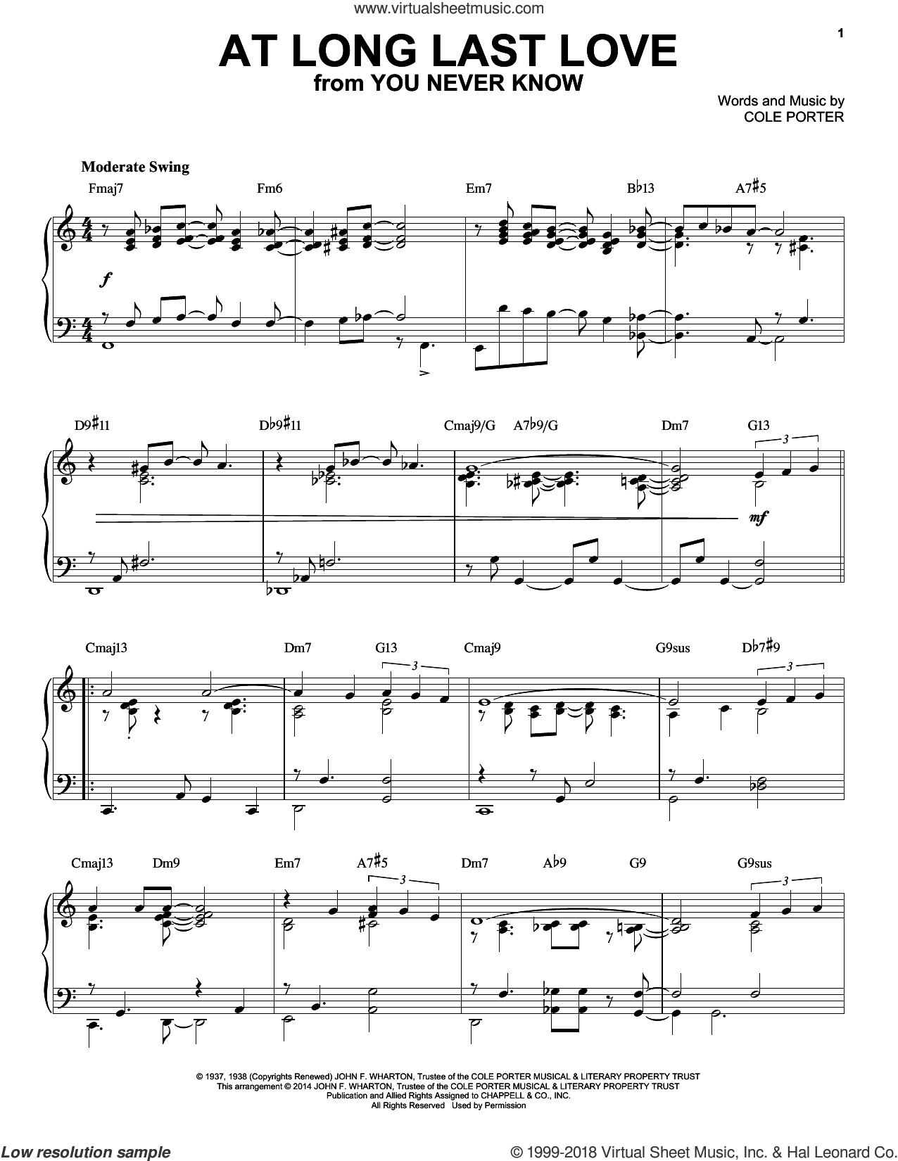 At Long Last Love sheet music for piano solo by Cole Porter and Frank Sinatra, intermediate skill level