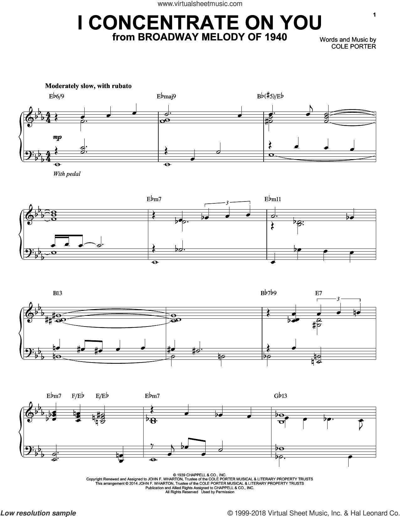I Concentrate On You sheet music for piano solo by Cole Porter, intermediate skill level