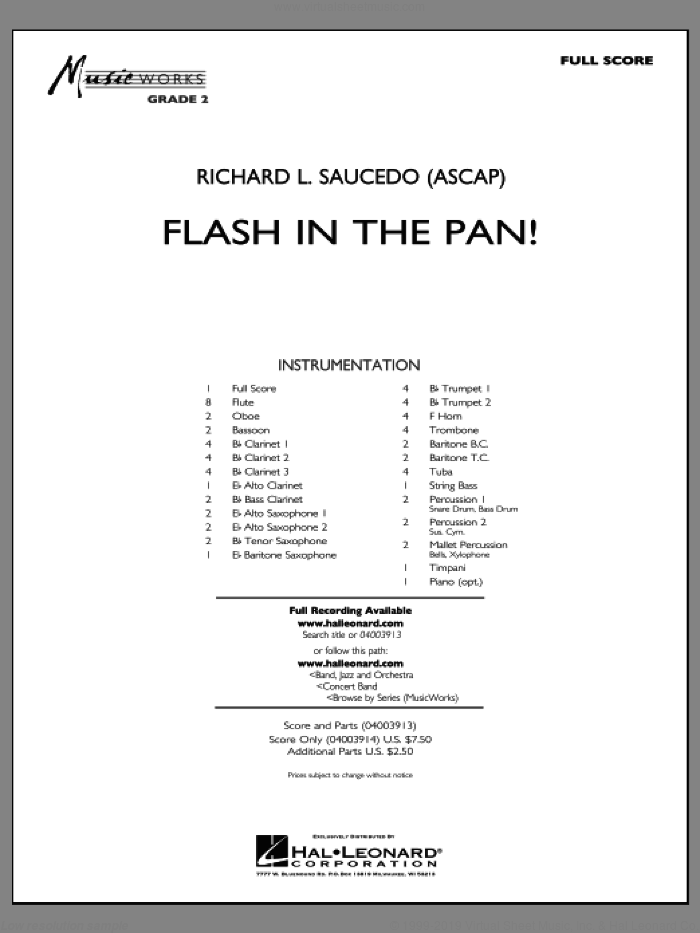 Flash in the Pan! (COMPLETE) sheet music for concert band by Richard L. Saucedo, intermediate. Score Image Preview.