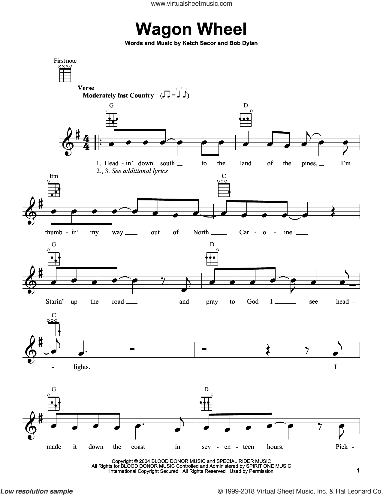 Wagon Wheel sheet music for ukulele by Bob Dylan, Old Crow Medicine Show and Ketch Secor, intermediate skill level