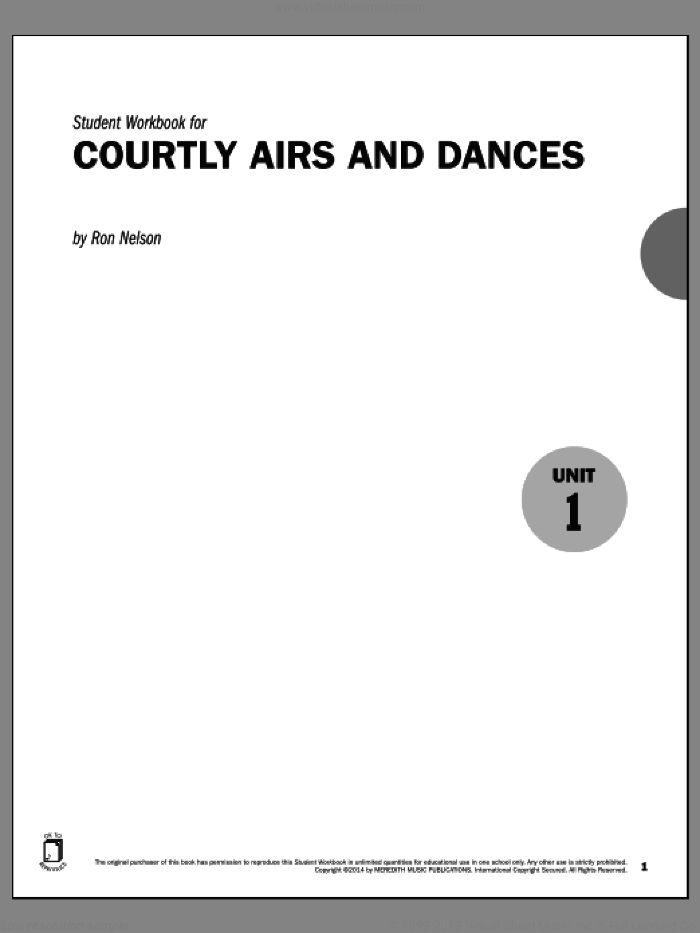 Guides to Band Masterworks, Vol. 5 - Student Workbook - Courtly Airs and Dances sheet music for piano solo by Ron Nelson. Score Image Preview.