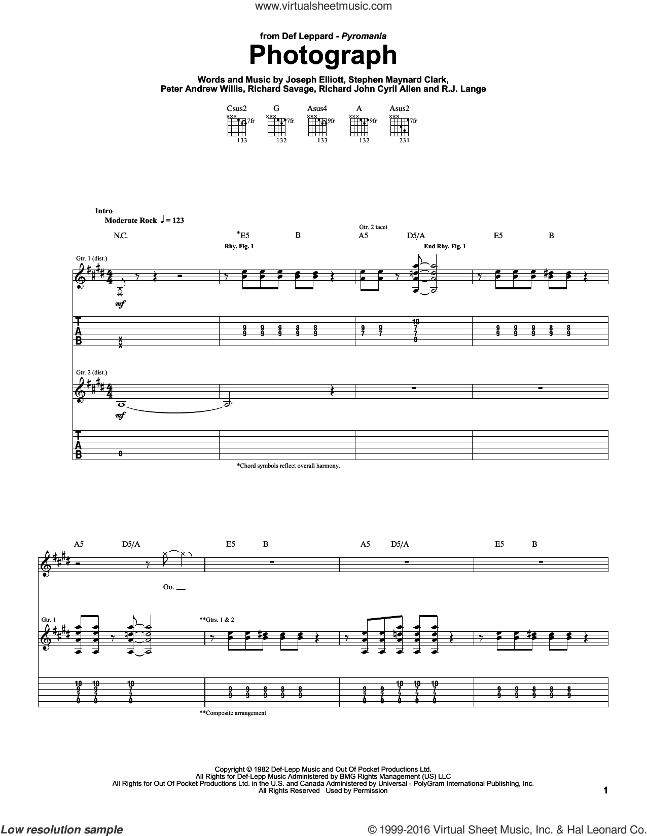 Photograph sheet music for guitar (tablature) by Def Leppard and Robert John Lange, intermediate guitar (tablature). Score Image Preview.