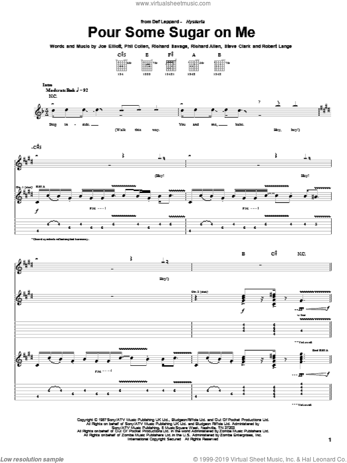 Pour Some Sugar On Me sheet music for guitar (tablature) by Def Leppard, Joe Elliott, Phil Collen, Richard Allen, Richard Savage, Robert John Lange and Steve Clark, intermediate. Score Image Preview.