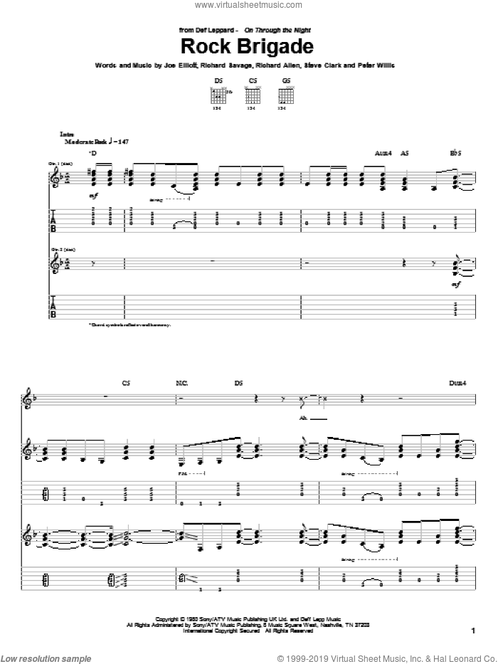 Rock Brigade sheet music for guitar (tablature) by Def Leppard. Score Image Preview.