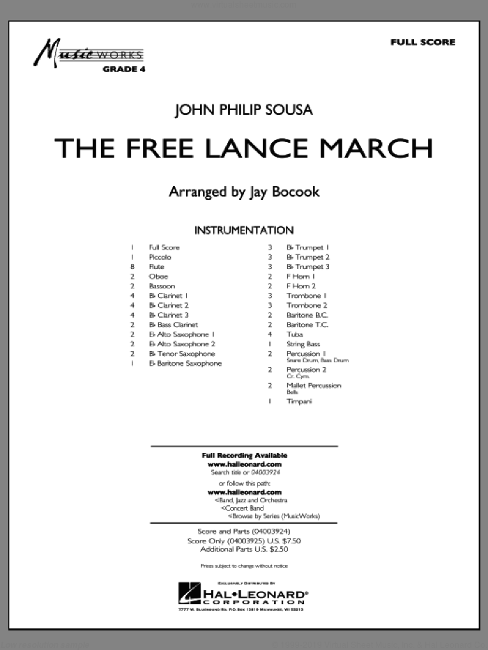 Bocook - The Free Lance March sheet music (complete collection) for concert  band