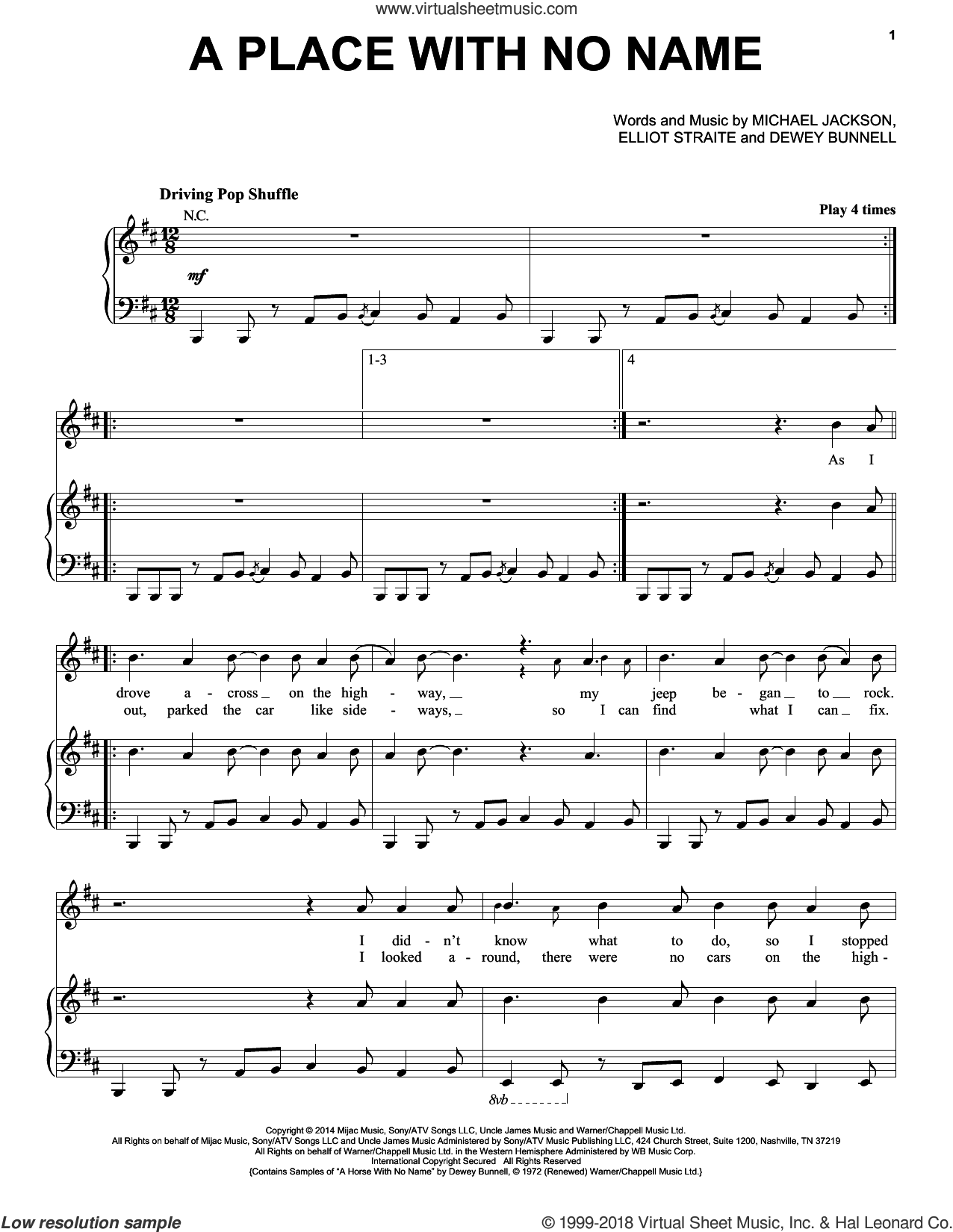 A Place With No Name sheet music for voice, piano or guitar by Elliot Straite, Dewey Bunnell and Michael Jackson. Score Image Preview.