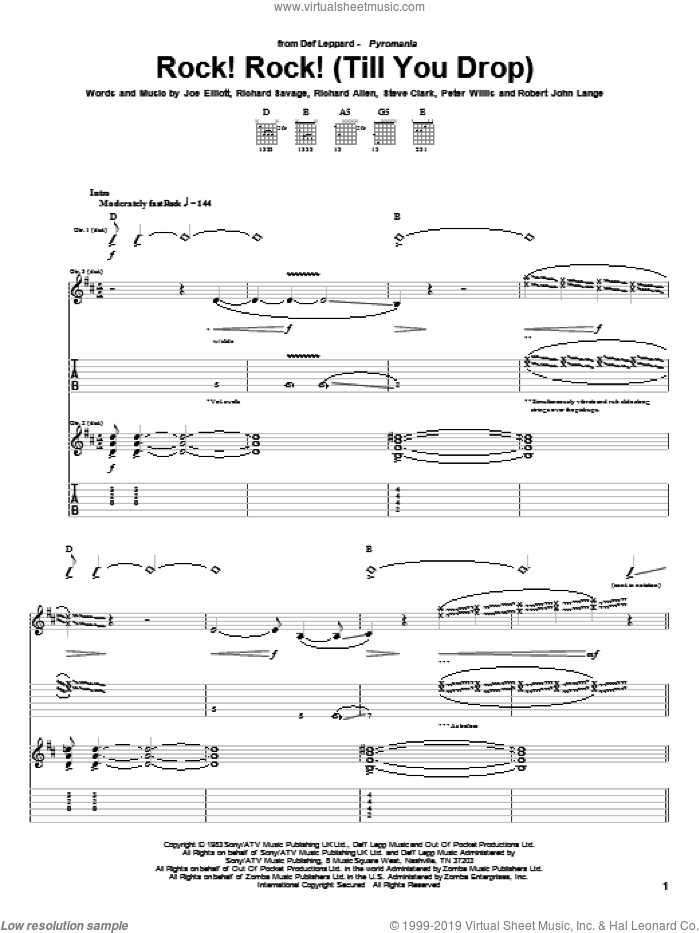 Rock! Rock! (Till You Drop) sheet music for guitar (tablature) by Steve Clark