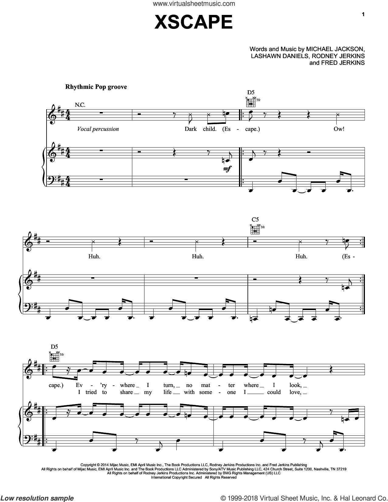Xscape sheet music for voice, piano or guitar by Rodney Jerkins, LaShawn Daniels and Michael Jackson. Score Image Preview.
