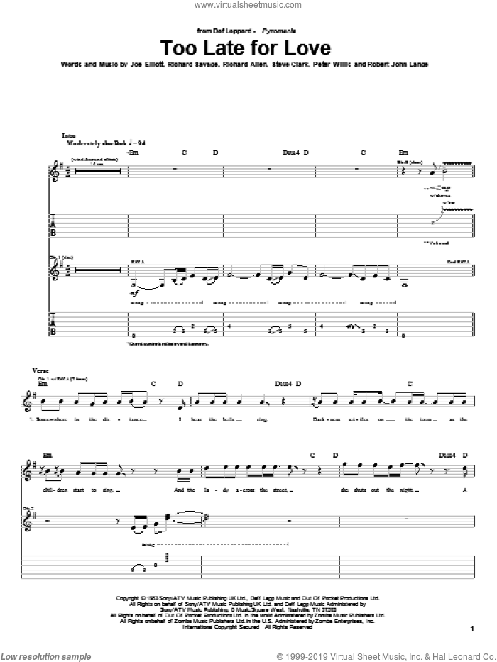 Too Late For Love sheet music for guitar (tablature) by Steve Clark, Def Leppard, Joe Elliott and Robert John Lange. Score Image Preview.