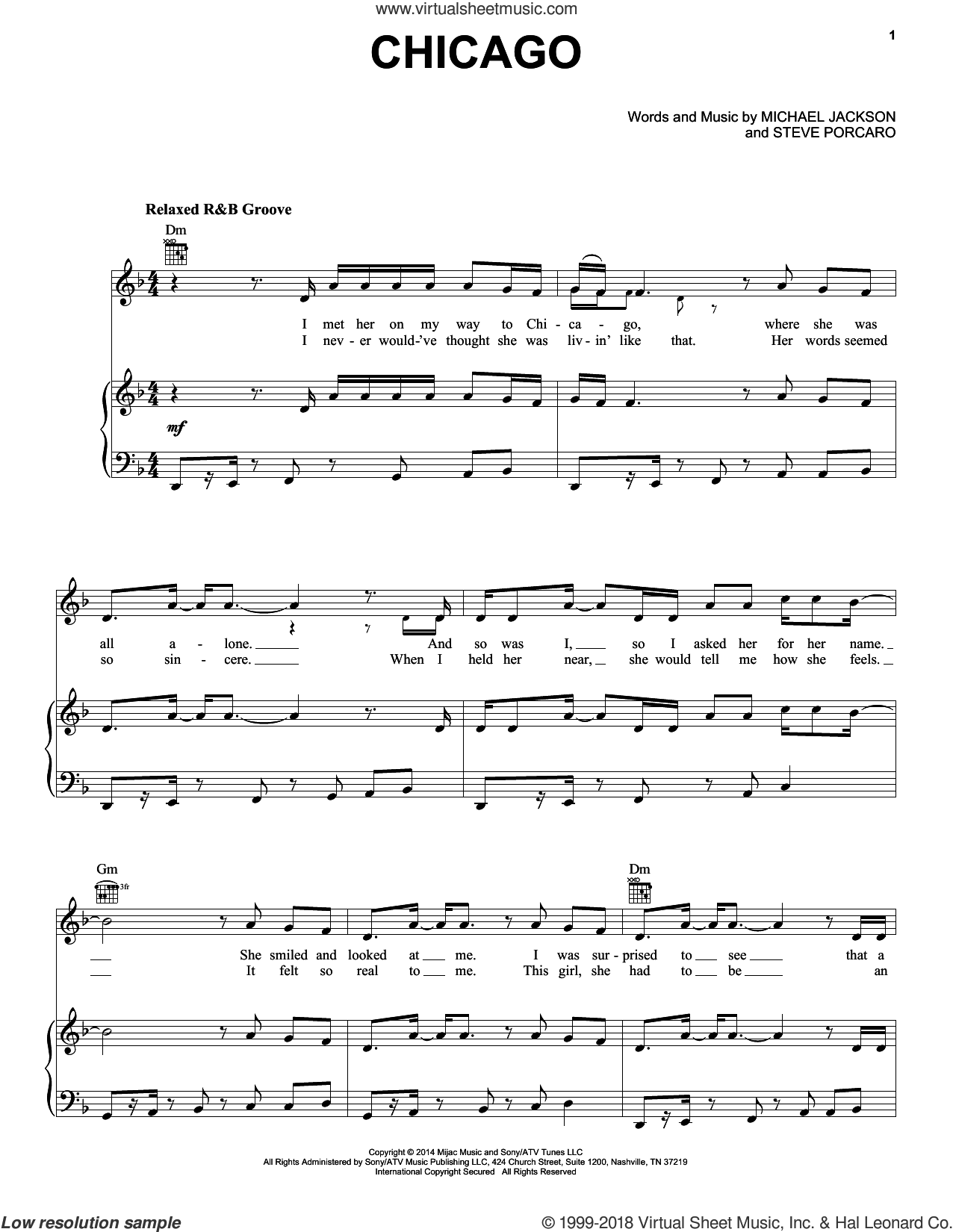 Chicago sheet music for voice, piano or guitar by Steve Porcaro and Michael Jackson. Score Image Preview.