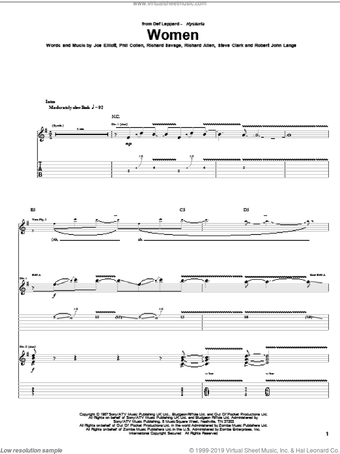 Women sheet music for guitar (tablature) by Def Leppard and Robert John Lange, intermediate. Score Image Preview.