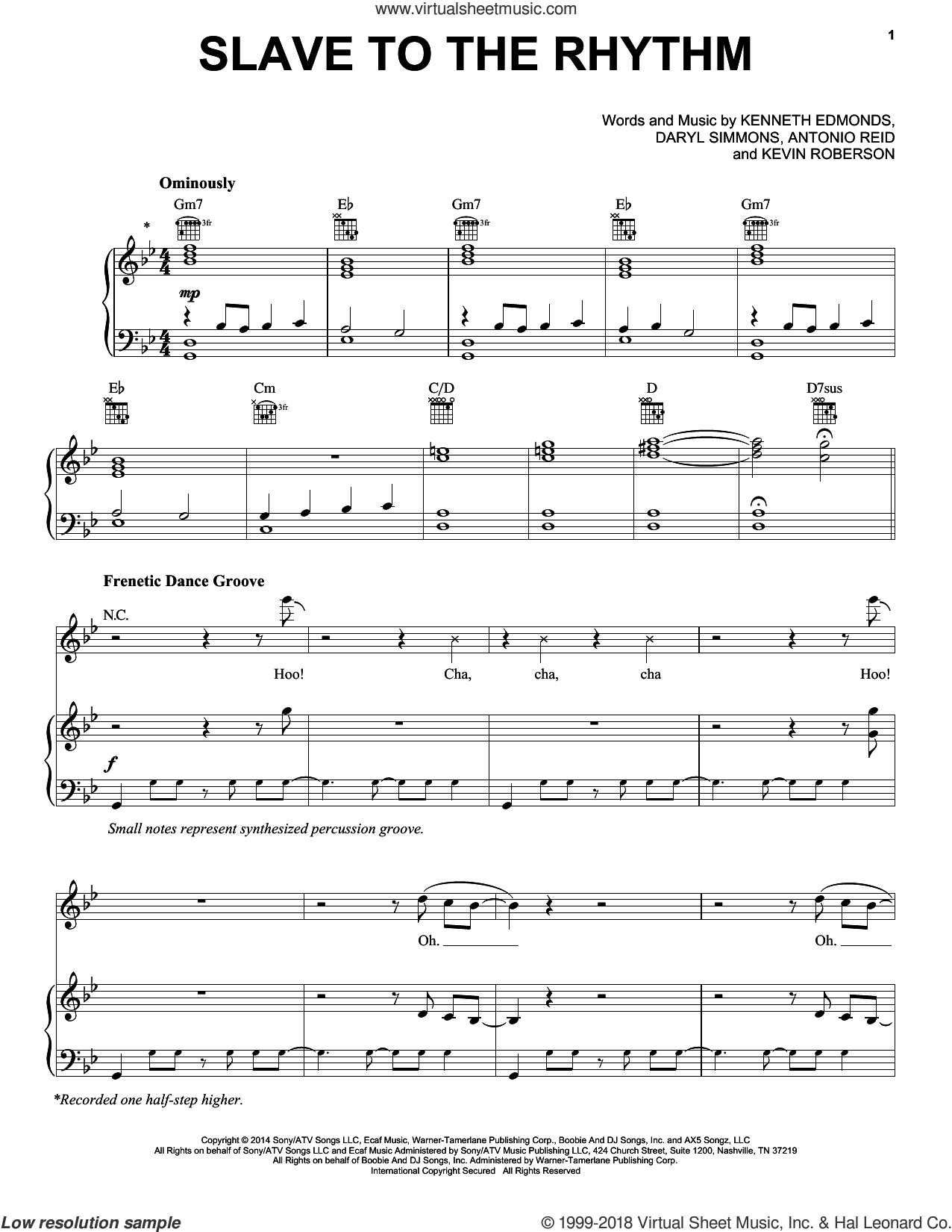 Slave To The Rhythm sheet music for voice, piano or guitar by Michael Jackson, Antonio Reid, Daryl Simmons, Kenneth Edmonds and Kevin Roberson, intermediate