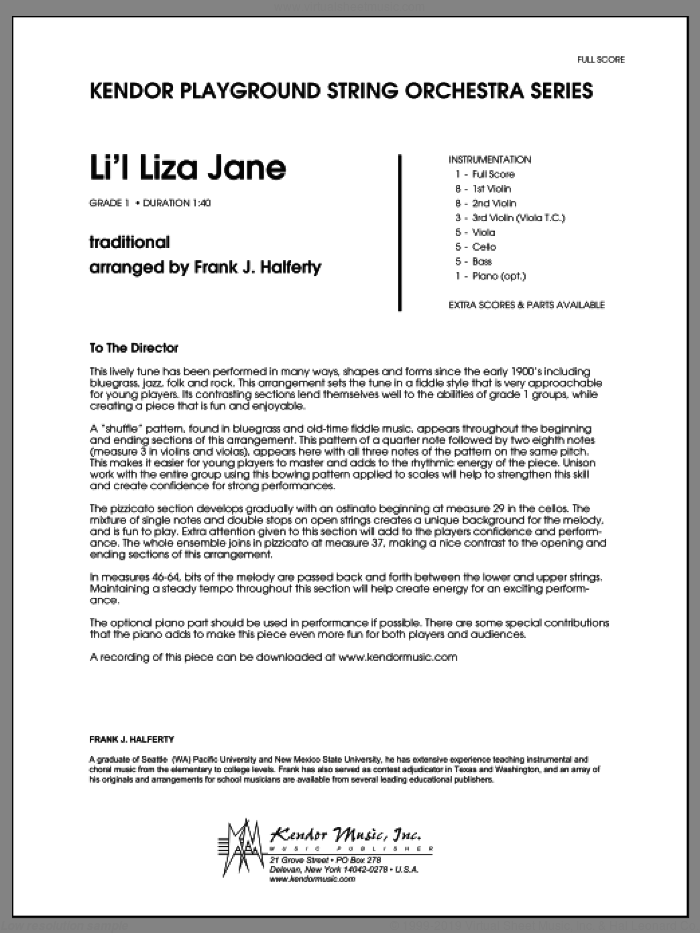 Li'l Liza Jane (COMPLETE) sheet music for orchestra by Frank J. Halferty, intermediate skill level