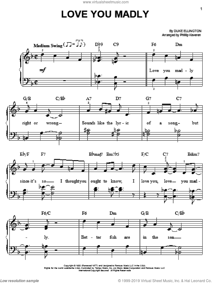 Love You Madly sheet music for piano solo by Duke Ellington and Phillip Keveren, easy