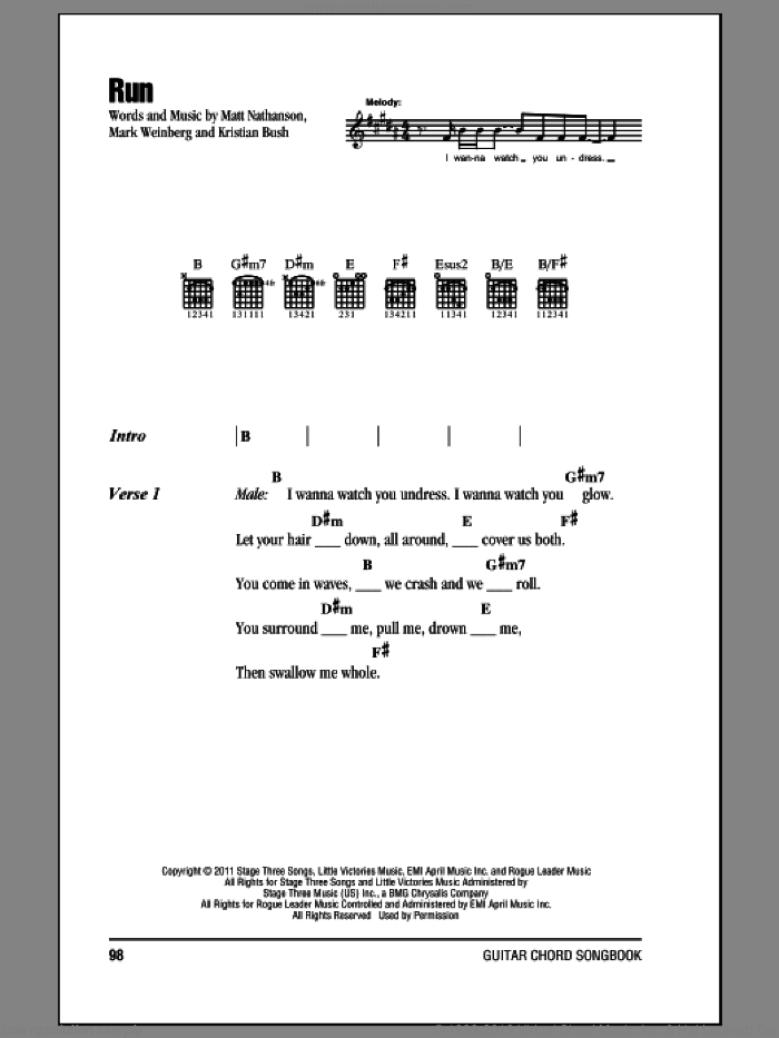 Run sheet music for guitar (chords) by Mark Weinberg, Sugarland, Kristian Bush and Matt Nathanson. Score Image Preview.