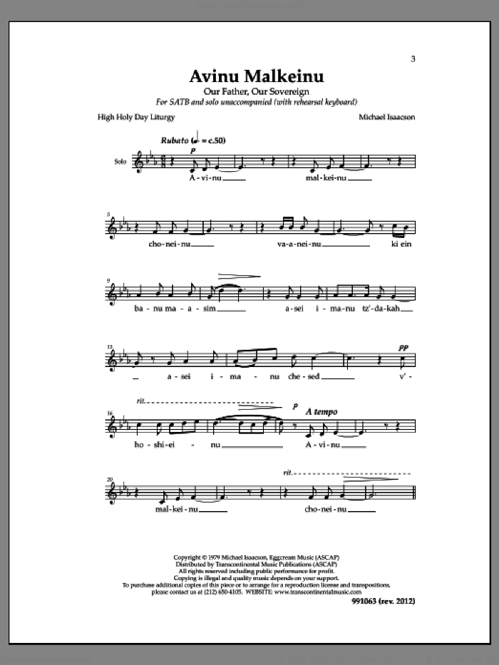 Avinu Malkeinu sheet music for choir and piano by Michael Isaacson. Score Image Preview.